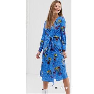 NWT knot asymmetric wrap floral midi dress